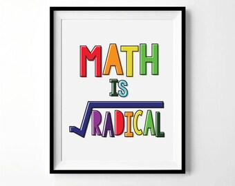Math Is Radical Print | Math Print | Classroom Print, Teacher Print, Elementary School Print | Math Decor | Digital Download