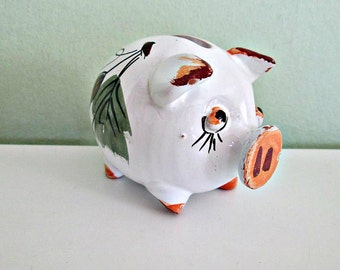 SALE! Fantastic Vintage Money Box Ceramic Pig, Italy Pottery, Hand painted, Piggy bank, Collectible