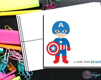 Personalized Captain America Stationery / Custom Avenger Stationery / Avengers Thank You Card Set / Custom Boy Stationery / Set of 12
