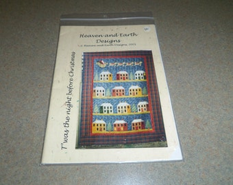 Quilting Pattern, Twas the Night Before Christmas Wall Hanging Houses and Santa's Sleigh