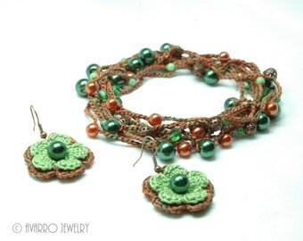 Orange Lime Green Crocheted Beaded Jewelry Set, Beaded Wrap Necklace, Dangle Flower Earrings, Long Beaded Bracelet, Textile Jewelry Set