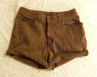 Vintage Lee Original Brown Denim High-Waisted Cut-Off Shorts