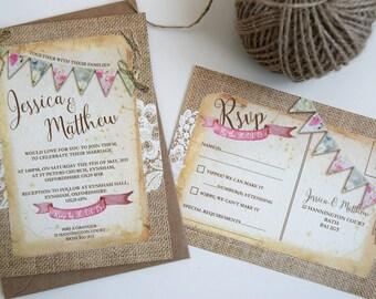 Vintage Bunting Wedding Invitation Set Sample