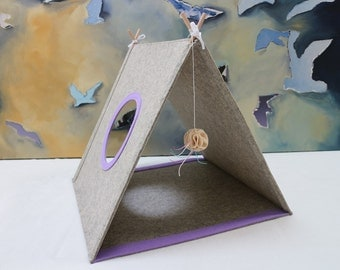 Large cat house Cat bed Kitten toy Felt cave Pet bed in sand lavender color Gift for cat lovers Play house Cat tent Cat cave