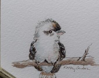 Baby Kookaburra sitting on a tree- Watercolor Painted Card-original or print