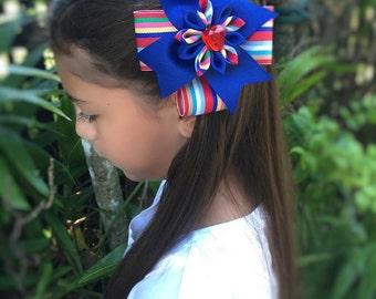 Multi-Color Hair Bow, Girls Hair Bow, Blue Hair Bow, Hair Clip, Girl Hair Flower, Stripped Bow, Girl Hair Clip
