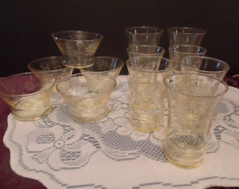 Vintage Yellow Toned Drinking Glasses/ and dessert Bowl,13 pieces, (# 607/26)