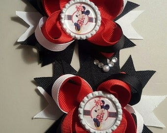 Minnie Mouse Girls Hair Bows.  Set of 2