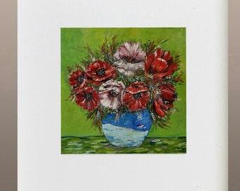 Original Oil Painting - Poppies in Blue Vase