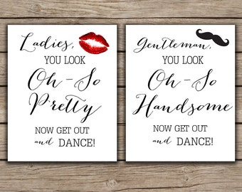Bathroom Signs Wedding wedding bathroom signs set of 2 ladies mens bathroom wedding