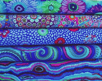 Bundle of Kaffe Fassett Fabrics 5 fabrics - Kaffe Fassett Blue Bundle