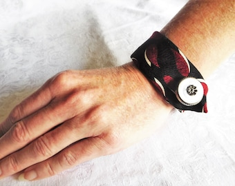 Black, Red and White Silk Cuff Bracelets