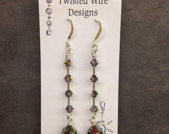 Multi Colored Swarovski Crystal and Sterling Silver Earrings