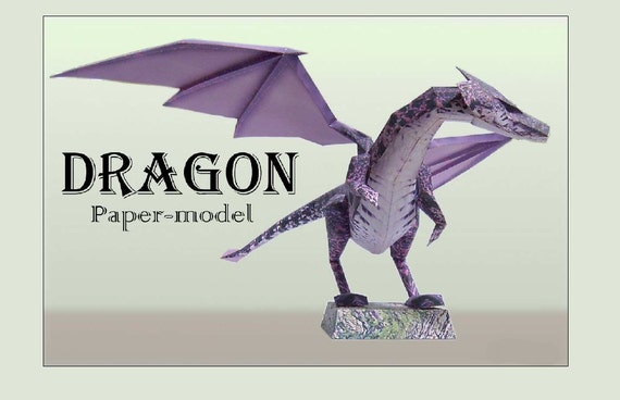 cardboard dragon template - dragon diy printable paper model kit papercraft pattern