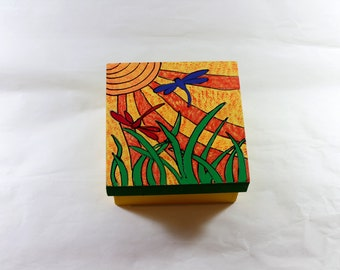 Square wooden boxes