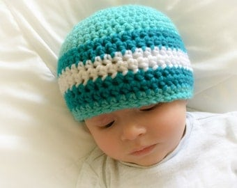 Hand Crocheted Baby Beanie in Low Tide