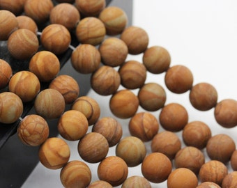 Nice Matte Wood Grain Jasper Gemstone Round Loose Beads 6mm/8mm/10mm Approximate 15.5 Inches per Strand.R-M-JAS-0207