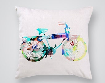 Bicycle Decorative Pillow - Art Pillow Cover - Throw Pillow - Gift Idea