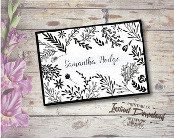 Personalized greeting card. Black and white floral and leaves.