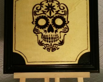 Pyrography picture Mexican skull