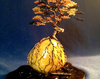 Upright Bonsai wire tree on yellow quartz globe
