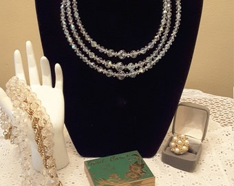 Stunning Triple Strand Iridescent Crystal Beaded Vintage victorian style Necklace.