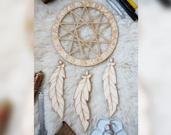 Dream catcher X (wooden) with engraving for painting and DIY projects