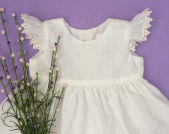 0m-3T Cream baby dress, tunic baby, baby dress, baby girl clothes, baby girl dress, toddler dress, Birthday Dress, First Birthday, Baby