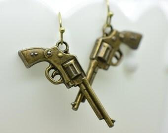 Pistol Earrings, Antique Bronze Finish, Vintage Style Charm Pendant Earring, Revolver Gun Jewelry (A025)
