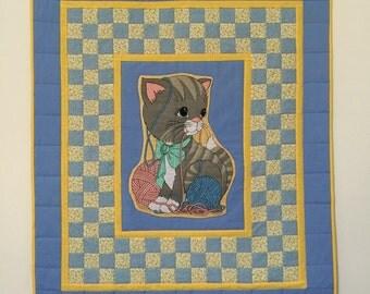 Handmade baby quilt, Baby boy quilt, Girl quilt, GotBabyGetQuilt, Baby quilts, Crib quilt, Toddler quilt, Cat baby quilt, Baby quilt pieced,