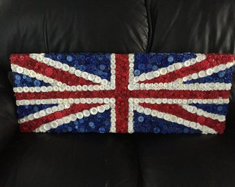 Union Jack canvas made out of buttons