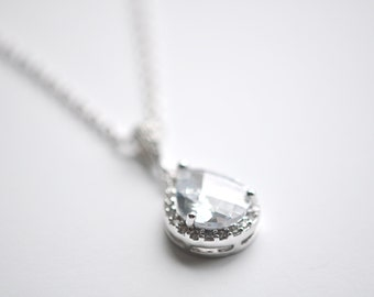 Teardrop Pendant Wedding Necklace Bridal Jewelry Crystal Teardrop Bridal Necklace Wedding Pendant