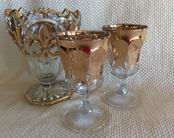 EAPG goblets Early American Pressed glass water stems Loop and Pillar pattern