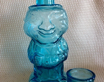 Vintage Tiara Jolly Mountaineer decanter ice blue Barware bottle WC Fields Figural comedian