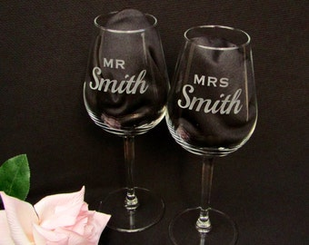 Personalised Etched Wine Glasses  - Wedding Gift- Mr and Mrs