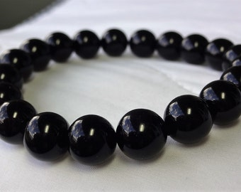 Genuine Black Onyx Bead Bracelet for Men (On Stretch Quad enforced) 10mm AAA Quality
