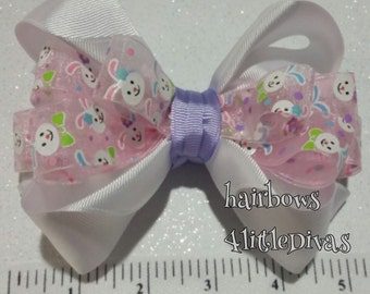 white pink hairbow, easter hairbow, pink white hairbow, white pink bunny hair bow