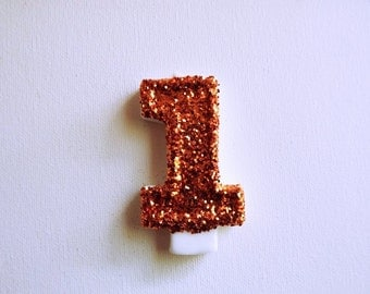 Orange glitter Birthday Candle, Burnt Orange Glitter Front, 1st Birthday Candle-Birthday Party Decoration-First Birthday Candle