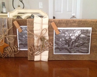 Rustic Barnwood Photo/Picture Frame Display, Cube, Block