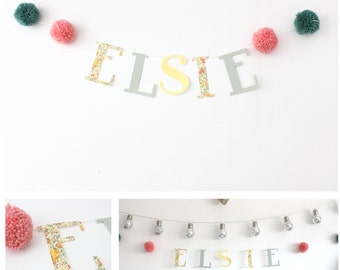 Customised name garland with pom poms/ Name Banner/ Boys name/ Girls Name/ Liberty/ Kids Decor/ Wall Decor/ Nursery/ Christening Gift/ Baby