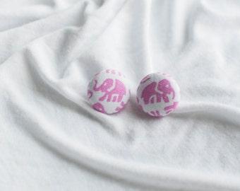 Pink Elephant Button Earrings