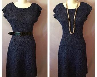 Vintage Electirc Blue Sparkly Sweater Dress