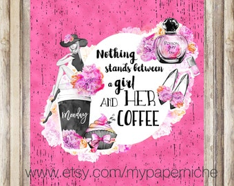 Planner Cover/ Coffee/Girl/Monday/ Happy Planner/personal/A5/dashboard