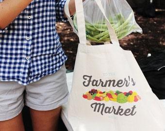 Large Farmer's Market Canvas Tote Bag | Reusable Grocery Bag | Farmer's Market Bag