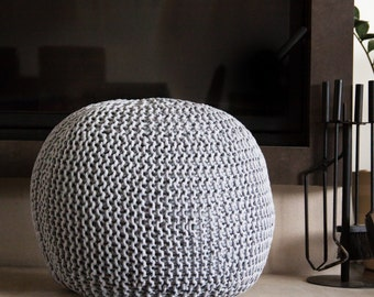Knitted pouf / ottoman Scandinavian style 44 colors