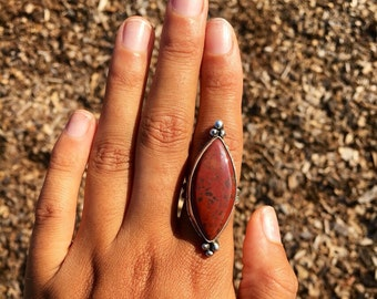 Ring, Jasper Ring, Sterling Silver Ring, Gemstone Ring, Jewelry, Sterling Silver Jewelry, Sterling Silver, Silver Ring, Size 8.25-8.5