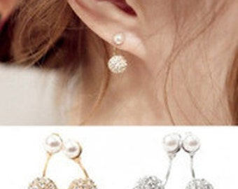 Silver, gold, or pearl Balled earrings