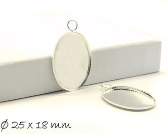 Cabochon versions / Medallion 25 x 18 mm, silver