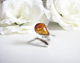 Honey Baltic Amber Ring, Natural Baltic Amber From Poland, Water Drop Light Brown Honey Amber, Adjustable Ring Size