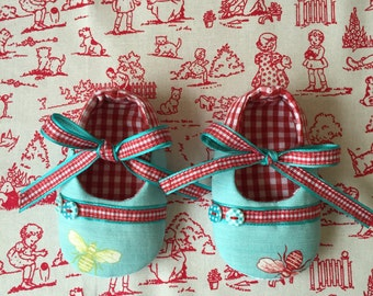 Bumble Bees theme, Mary Jane's baby girls shoes. Red gingham and Aqua.